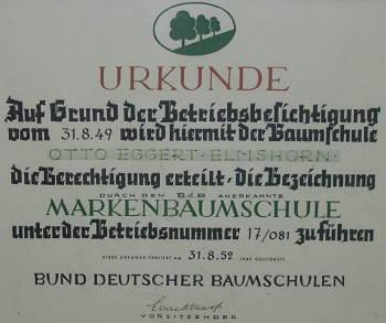 Anerkunnung zur BDB Markenbaumschule